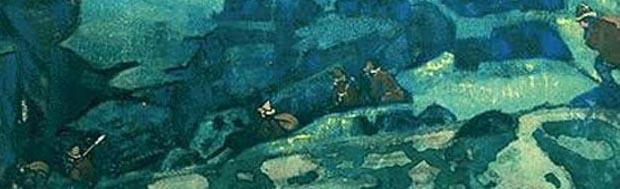 Центральная ачсть картины Н.К. Рериха. Чудь подземная (Чудь под землю ушла) . 1913.
